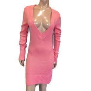 SEDUCTIONS Deep V-Neck Knit Sweater Dress Long Sleeve Mini Bodycon Ribbed Pink